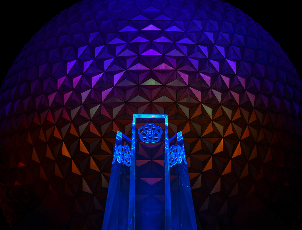 Epcot statue SSE colorful night