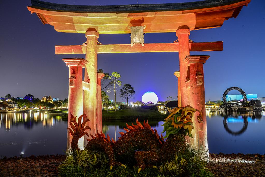 Flower & Garden dragon topiary Japan night Epcot