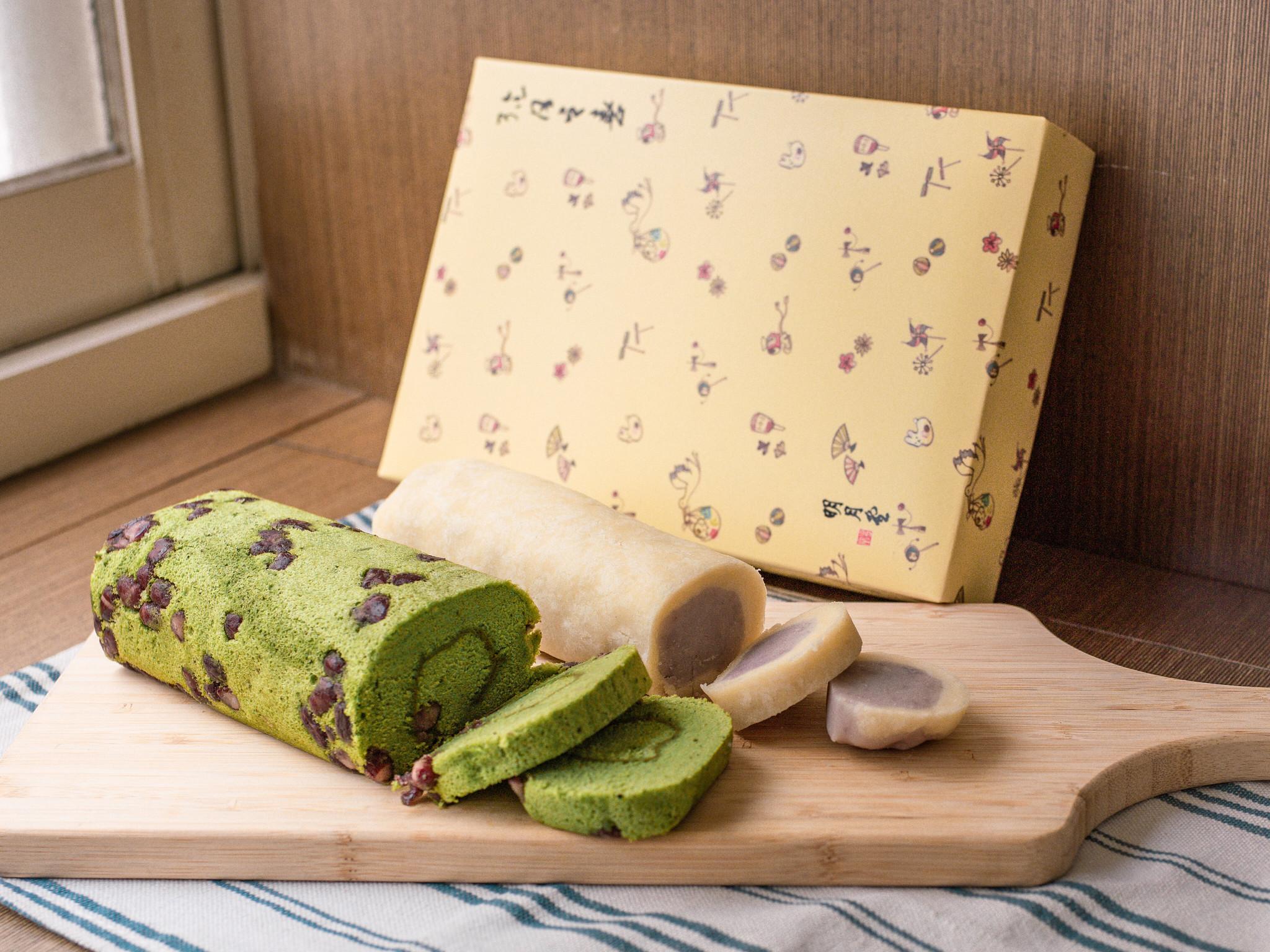 明月堂和菓子。抹茶蛋糕、芋頭捲彌月禮盒