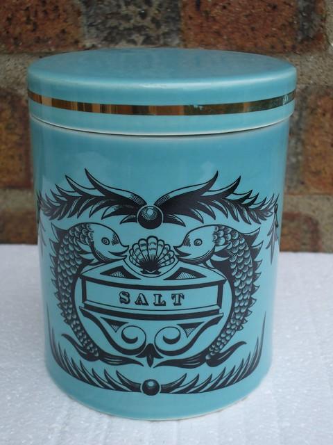 Vintage Portmeirion Light Blue Dolphin Pattern Kitchen Salt Container Mid Century Modern