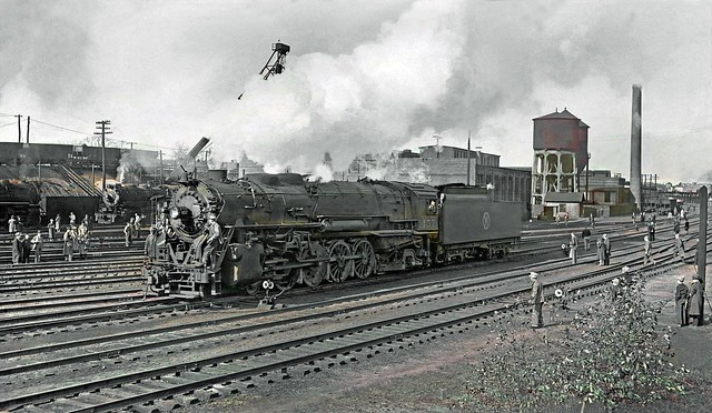 New York Ontario & Western ALCO Y-2 class 4-8-2 Mountain steam locomotive # 457, is seen the in the New Haven Railroad'syard for Railroad Enthusiasts exhibit at Maybrook, New York, ca 1940