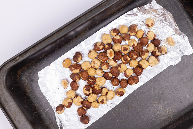 Baking Hazelnuts in the baking tray