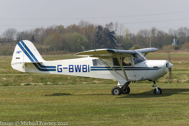 G-BWBI - 1991 build Taylorcraft F-22A Tracker, taxiing for departure at  Barton