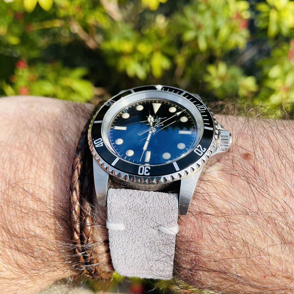 D Hodge diver on grey suede strap