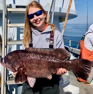 Photo of a woman holding a large tautog
