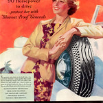 """Fri, 2013-10-18 16:33 - Confident female driver in a nonchalant pose supported by a """"Blowout-Proof"""" Dual 8. 1935"""