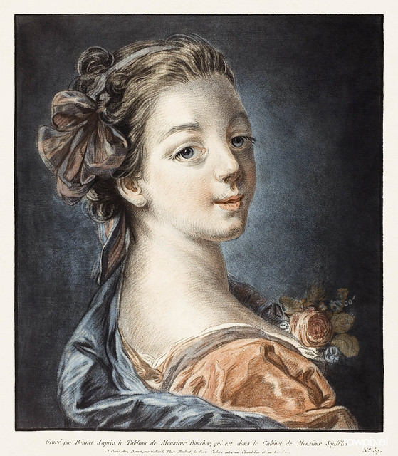 Bust of a Woman (ca.1771) print in high resolution by Louis-Marin Bonnet. Original from the Art Institute of Chicago. Digitally enhanced by rawpixel.