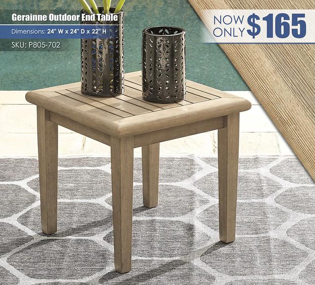 Gerainne Grayish Brown End Table_P805-702
