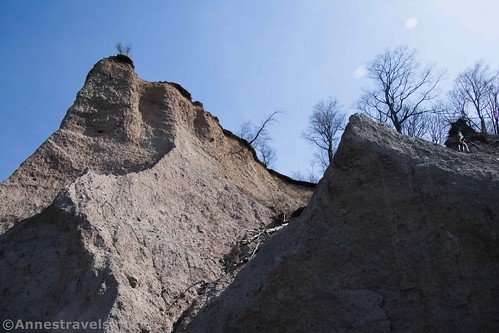 Looking up at the Sitts Bluffs, Fair Haven State Park, New York