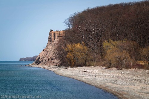 Close up of Sitts Bluff from the viewpoint above the beach and the old fishing pier, Fair Haven State Park, New York