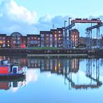 Boat crane reflection at Preston Docks