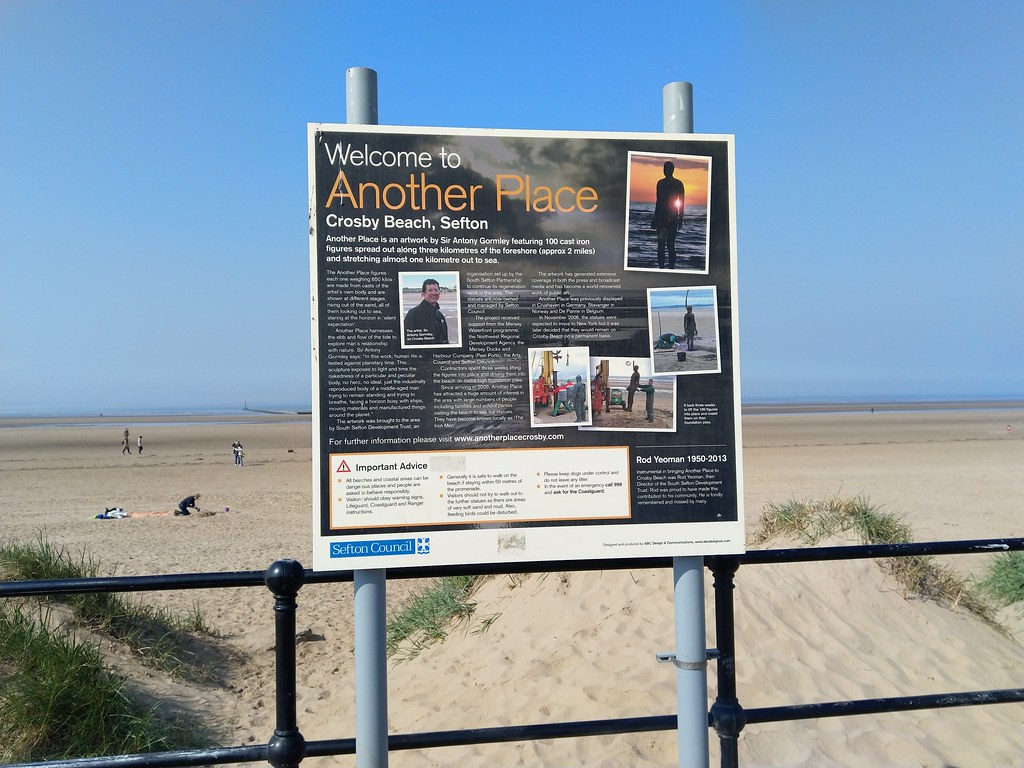 The start of the art installation 'Another Place' Crosby Beach