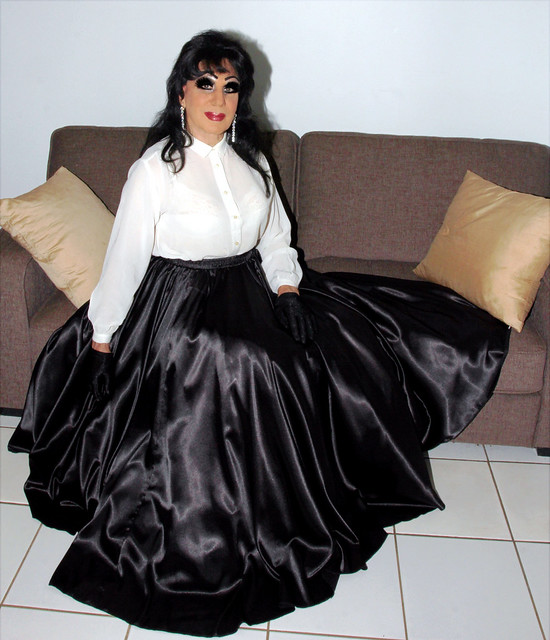 Black Silk Skirt and Blouse