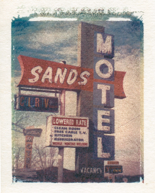 sands motel / route 66 (polaroid transfer). barstow, ca. 1999.