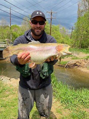 Photo of man holding large rainbow trout