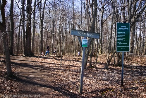 Sign marking the trailhead for the Lake Trail at the Sterling Nature Center, New York
