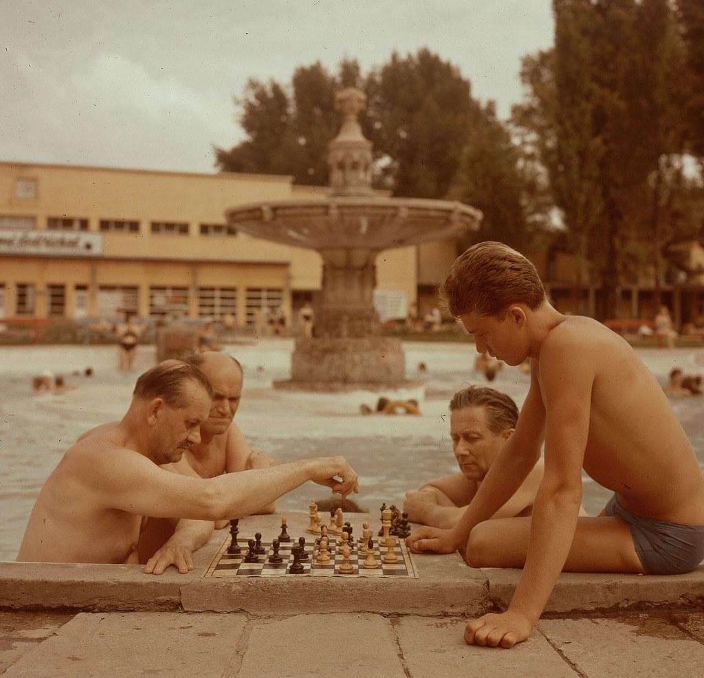15. Игра в шахматы - национальная страсть венгров. Возле общественных бассейнов есть даже шахматные доски