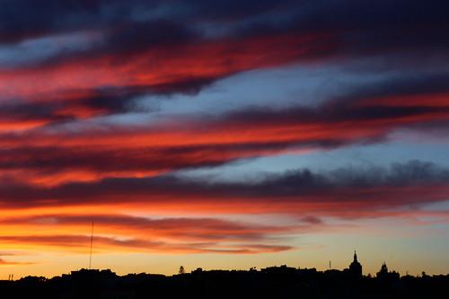sunset clouds sky colors frommywindow lisboa lisbon portugal red blue orange landscape