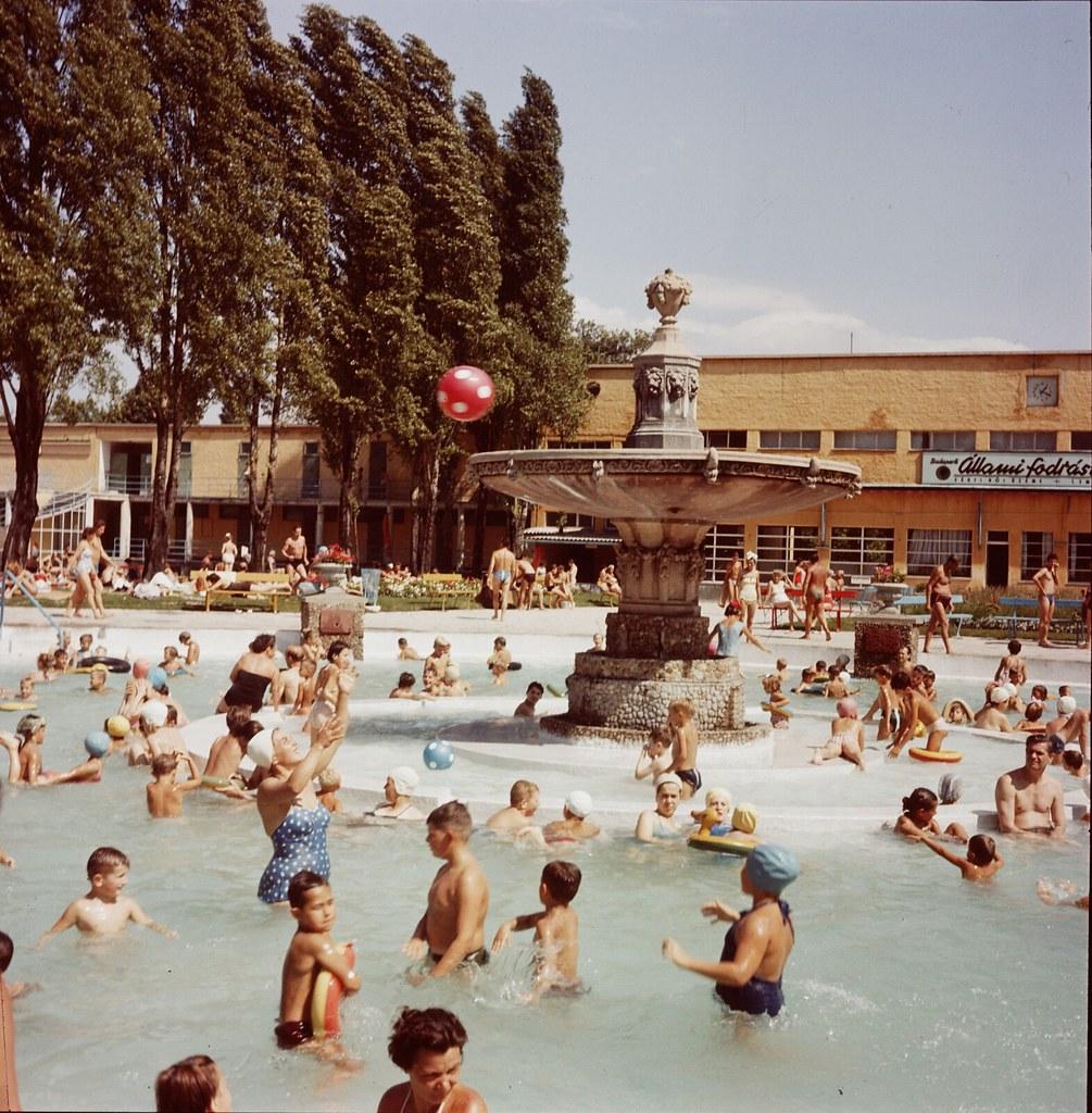 14. Семьи в Будапеште пользуются общественным бассейном на острове Св. Маргариты