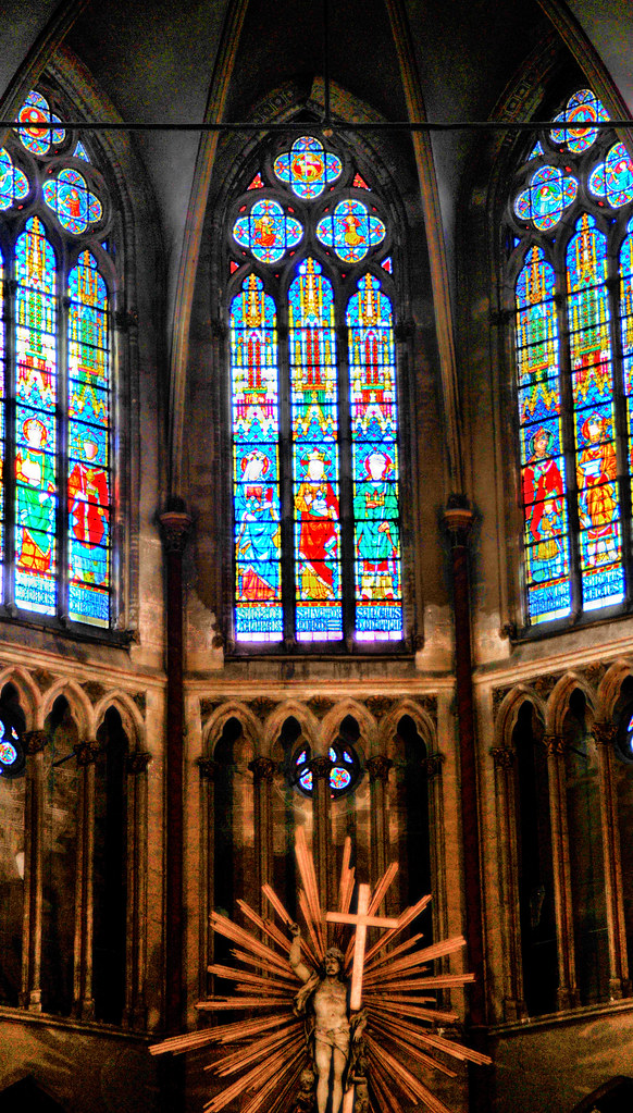 The later stained glass windows of the Cathedral of Bruges