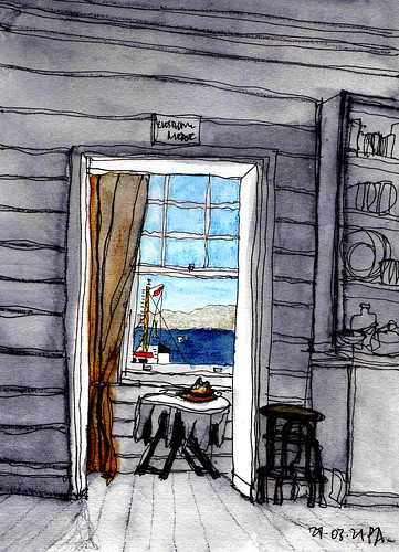 chowderbay sydneyharbour cliftongardens pencilinkwash seascape
