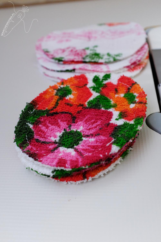 slow sewing, marchewkowa, szycie, krawiectwo, upcycling, eko, frotte, etyczne, wielorazowe płatki kosmetyczne, reusable cotton pads, sewing, handmade, DIY