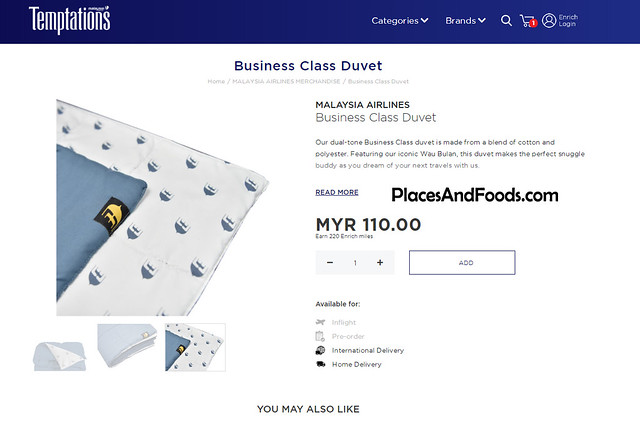 malaysia airlines temptations business class duvet