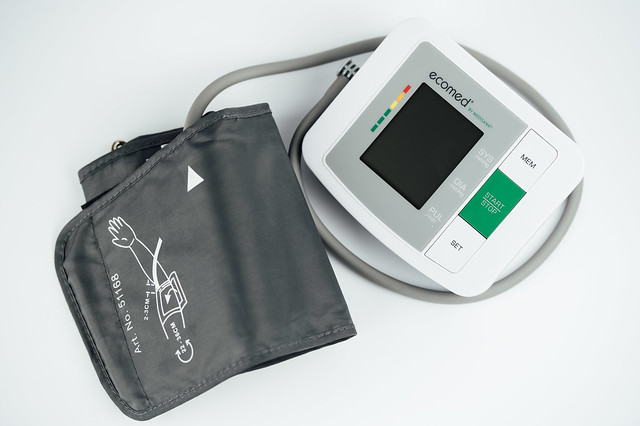Top view of a digital blood pressure monitor