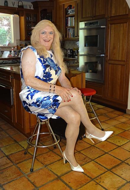 Blue and white satin dress
