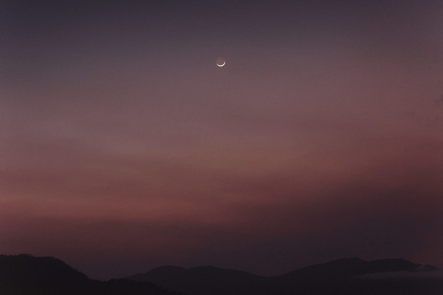 Waxing Crescent Moon in Smokey Sunset Sky 2 - Sept 29, 2011