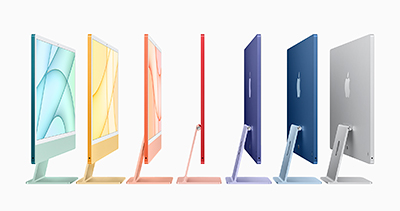 Plenty of vibrant colours to choose from for the new M1-powered Apple iMac.