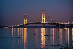 Light Reflections from the Mackinac Bridge