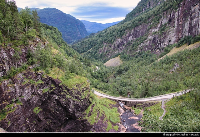 View from the top of Skjervsfossen, Norway