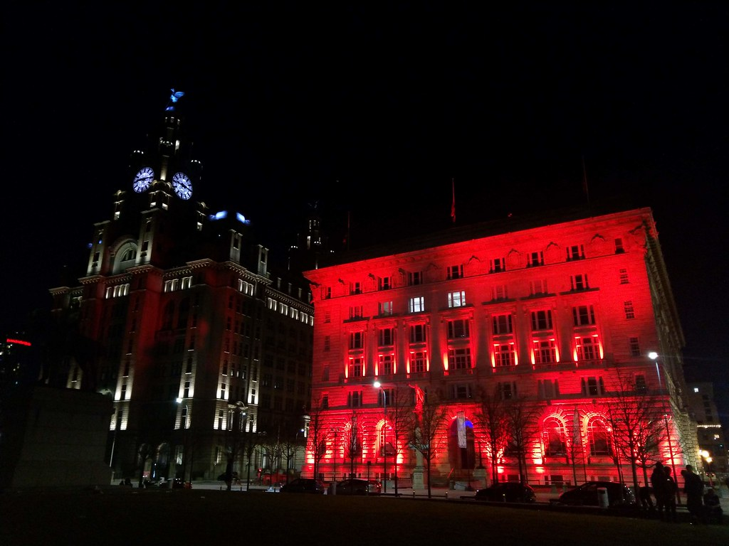 Pier Head Liverpool at night