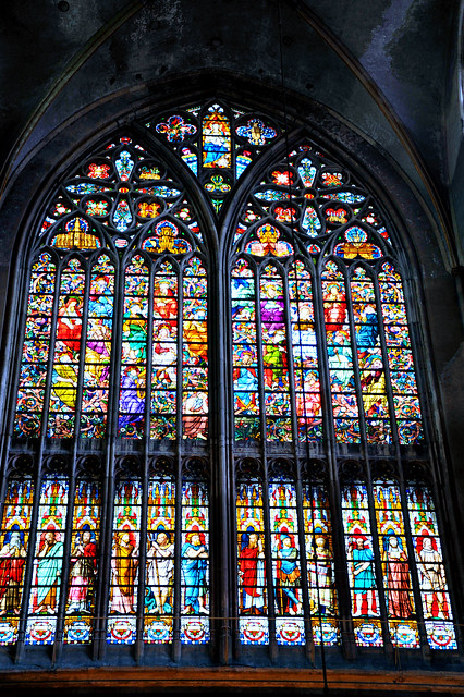Transverse stained glass window of the Cathedral of Bruges