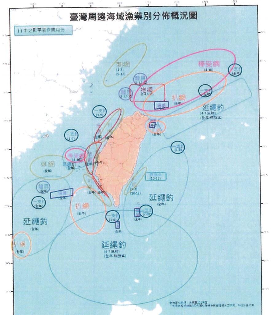 台灣周邊海域漁業別分佈概況圖。來源:漁業署簡報