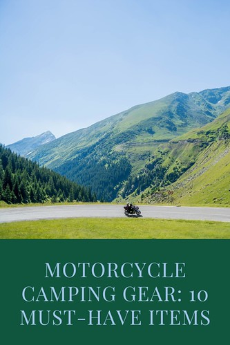 Motorcycle on a winding road in the mountains. From Motorcycle Camping Gear: 10 Must-Have Items