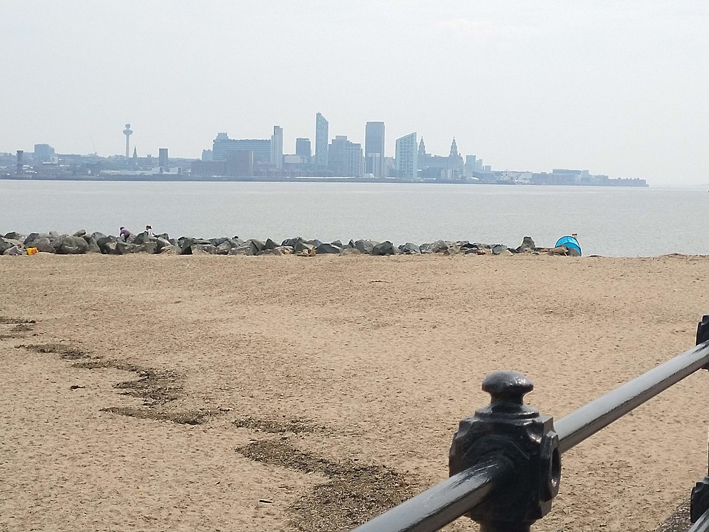 Views of Liverpool across the estuary from New Brighton