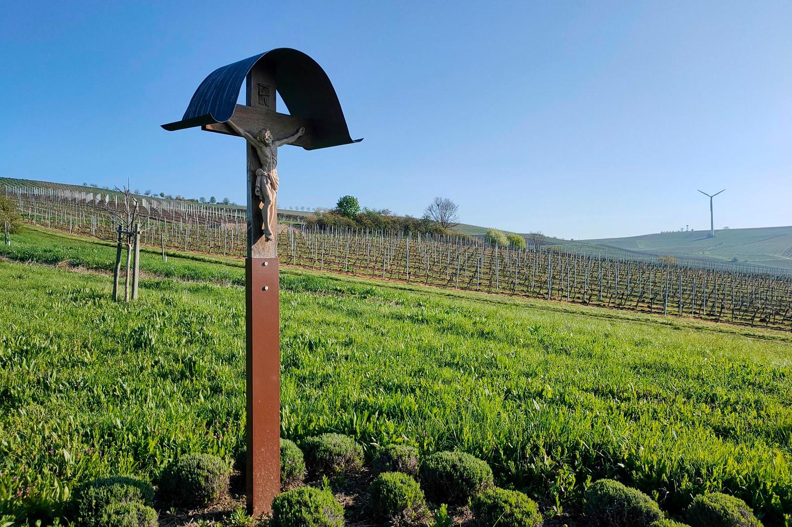 Kreuz in den Weinbergen über dem Wahlheimer Hof