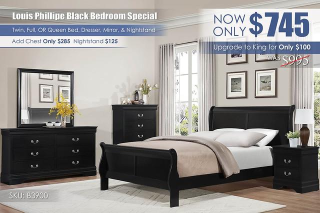 Louis Phillipe Bedroom Special_B3900_Black_2021