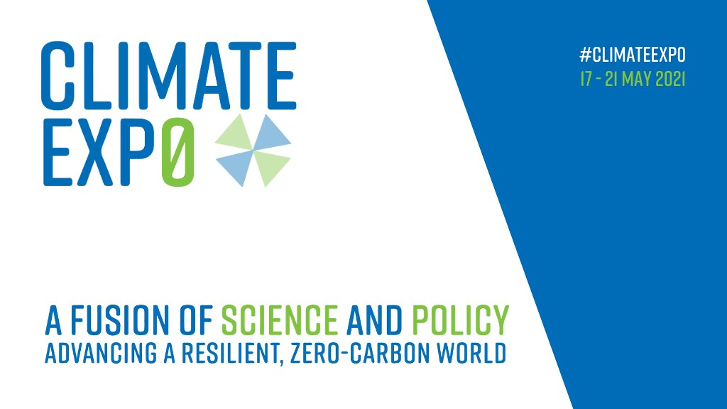 A graphic with Climate Exp0 title and logo