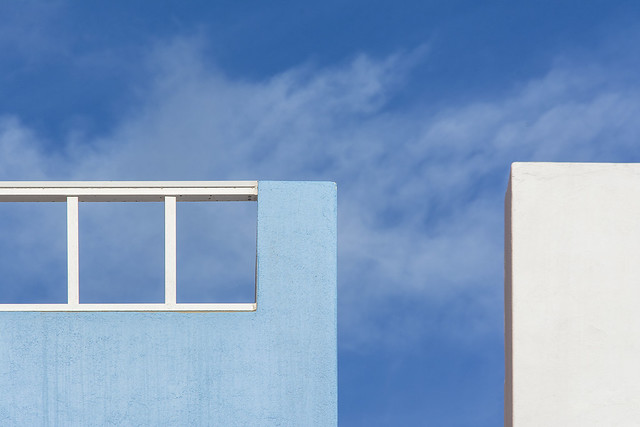 Blue and white wall