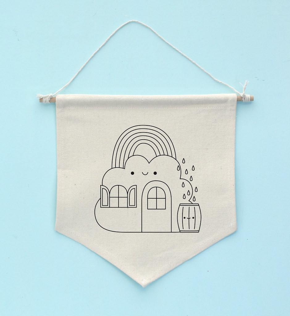 Colorful Cloud House Embroidery Pattern