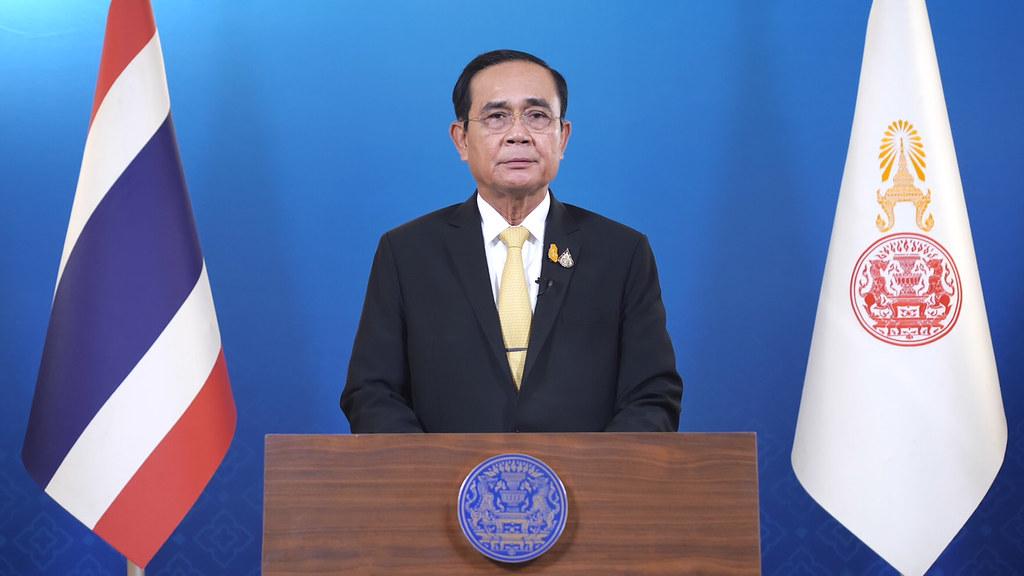 พล.อ.ประยุทธ์ จันทร์โอชา ขณะแถลงผ่านโทรทัศน์รวมการเฉพาะกิจแห่งประเทศไทย