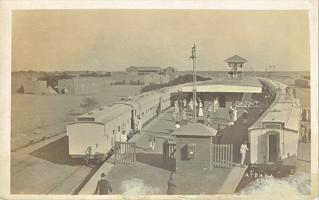 Sudan Railways - Atbara ( عطبرة ) Train Station, 12 December 1913 - Sudan Government Railways passenger trains (real photo postcard)