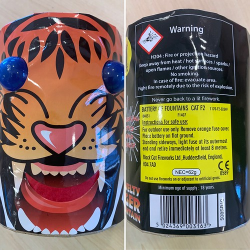 TIGER FIREWORK FOUNTAIN - WARNING LABEL / INSTRUCTIONS