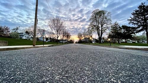 iphone iphone12promax apple cameraphone newyork li longisland urban urbanlandscape urbanphoto street road trees sunrise clouds sky dawn