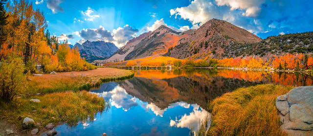 California Fall Colors Red Yellow Orange Aspen Leaves! Eastern Sierra Fall Foliage Fine Art Landscape Nature Photography! Bishop Creek High Sierra Brilliant Autumn Day North Lake Collection Elliot McGucken Master Fine Art Luxury Photography California Art