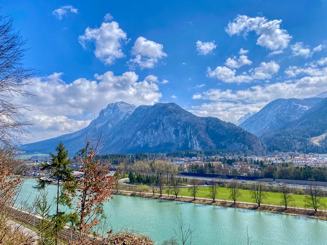 River Inn and Zahmer Kaiser mountain range in Tyrol, Austria
