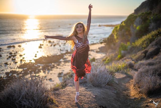Beach Ballerina Dancer 45SURF Fine Art Dance Portrait Photography! Pretty Leotard Model Ballet Dancer Dancing Classical Ballet Malibu Beach Sunset Leo Carillo State Beach Dr. Elliot McGucken 45EPIC Master Ballet Photographer Luxury Fine Art Photography!